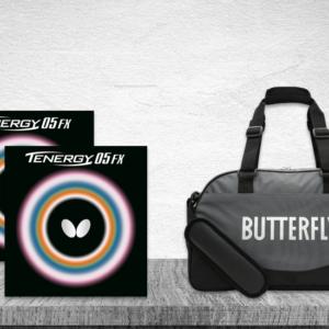 Προσφορά Ζευγάρι Λάστιχα Πινγκ-Πονγκ Butterfly Tenergy 05 FX 2.1 με την Τσάντα Butterfly MidiBag Kaban