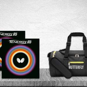 Προσφορά Ζευγάρι Λάστιχα Πινγκ-Πονγκ Butterfly Tenergy 05 2.1 με την Τσάντα Butterfly DuffleBag Sendai