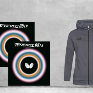 Προσφορά Ζευγάρι Λάστιχα Πινγκ-Πονγκ Butterfly Tenergy 05 FX 2.1 με το Jacket Butterfly Ikeda Lady Grey