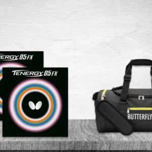 Προσφορά Ζευγάρι Λάστιχα Πινγκ-Πονγκ Butterfly Tenergy 05 FX 2.1 με την Butterfly Τσάντα DuffleBag Sendai